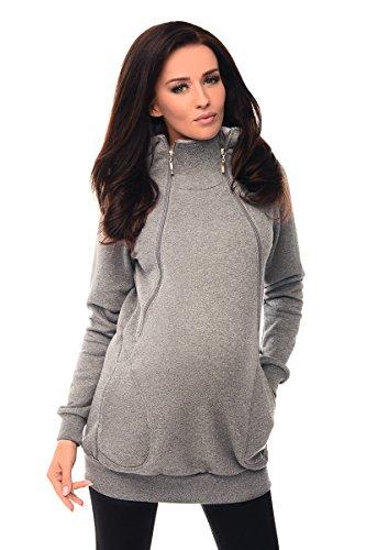 Purpless Umstandsmode 2in1 Schwangerschaft und Diskret Pflege Kapuzenpullover Still-Pullover mit Kapuz B9052 (42, Gray Melange)