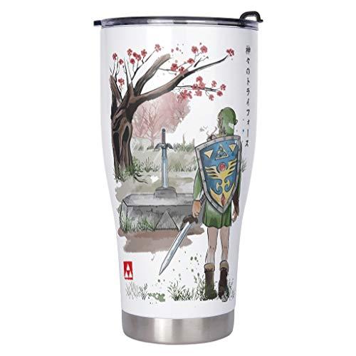 Caixiabeauty Zelda - Taza de café de acero inoxidable, a prueba de fugas, taza térmica de doble pared y aislamiento al vacío, taza de viaje con tapa, para viajes, oficina, coche, color blanco, 900 ml