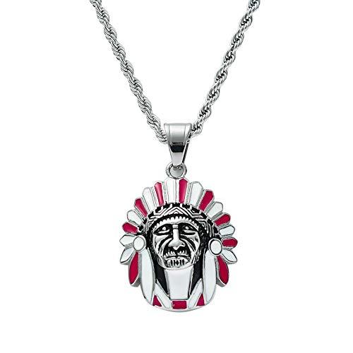 Moca Jewelry Collar de acero inoxidable con colgante de avatar indio de hip-hop, cadena de cristal y diamantes de imitación, para hombres y mujeres