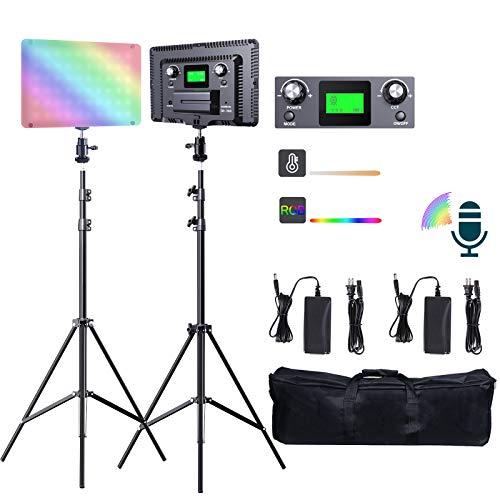 SAMTIAN LED Sound Gesteuert Videoleuchte 2800-9900k RGB Kamera Dimmbare Video Licht Kit mit 18 Szenenmodus leuchtet, Ultradünnes LCD-Display um Lichtstand für YouTube Tik Tok Studio Fotografie