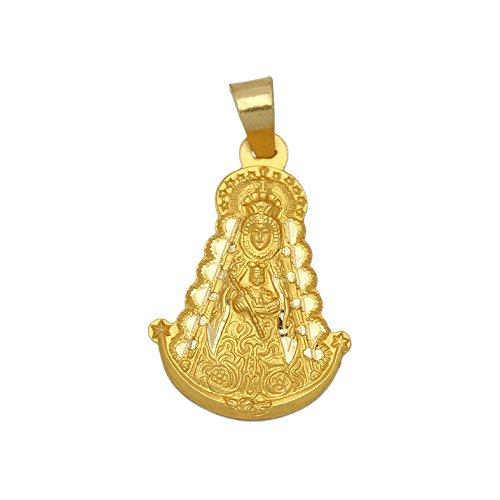 Medalla de la Virgen del Rocío Silueta Grande de Oro Precioso diseño