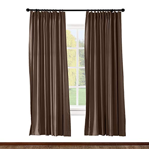 ChadMade Pinch Pleated Curtain 52W x 96L Inch Solid Thermal Insulated Blackout Patio Door Panel Drape for Traverse Rod and Track, Chocolate (1 Panel)