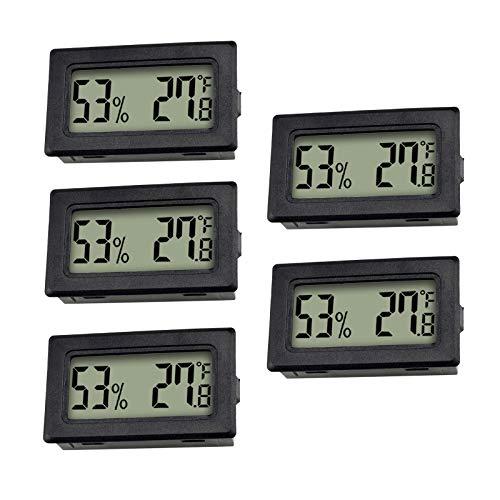 ZHITING 5-Pack LCD Termómetro Digital de Temperatura,Medidores de Temperatura Digital Mini Termómetro para humidificadores/invernaderos/jardín/Bodega/Nevera Negro
