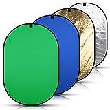 Abeststudio 背景布 緑 青 150 x 200 cm 撮影用 背景シート 厚地 不透明,100% 綿、モスリン生地、写真のクロマキー背景の背景ポータブルポップアップ折り + 2-in-1撮影用 折りたたみ式 レフ板 (銀、金)