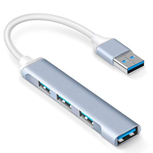 Mini USB Hub Extensions, 4 Port USB 3.0 Hub, 2.0 Hub, USB adapter station, Ultra Slim Portable Data Hub Applicable for iMac Pro, MacBook Air, Mac Mini/Pro, Notebook PC, USB Flash Drives Aluminum Alloy