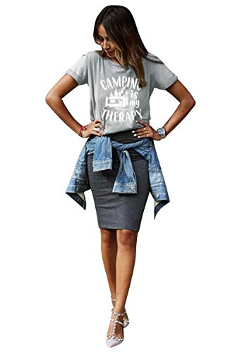 Happy Camper Tshirt Women Camping is My Therapy Letter Print Tops Funny Saying Cute Graphic Camp Tee Shirt Gray