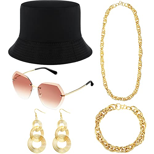 Syhood Kit de Disfraces de Gip Hop de los 80/90 Disfraz de Rapero Conjunto de Accesorios de Sombrero de Pescador Gafas de Sol Pendientes Exagerados de Oro Collar de Oro Brazalete de Oro