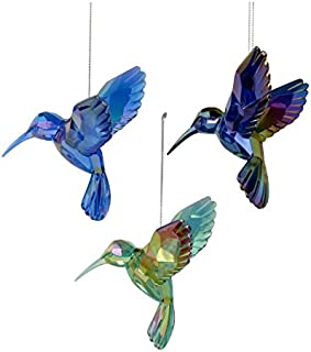 Kurt Adler Shiny Acrylic Hummingbird Ornaments, Set of 3, Assorted)