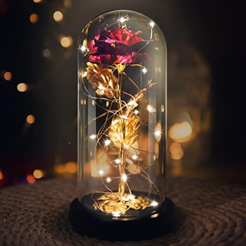 La Bella y la Bestia Rose, Red Silk Rose en Dome Glass con 20 LED Fairy Lights String, Romántica Sorpresa para el Día de San Valentín, Valentine, Aniversario de Bodas, Navidad, Regalos día de la Madre