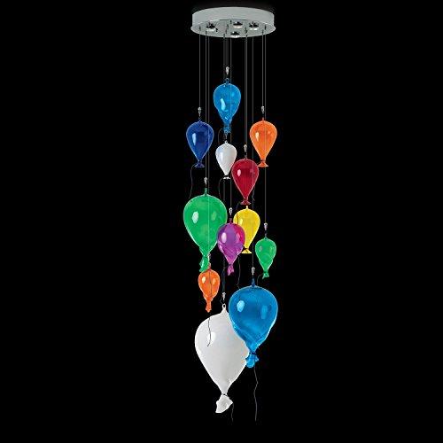 Lampada a sospensione in vetro di Murano multicolore | realizzata a mano in Italia | Lampada a sospensione moderna decorativa dimmerabile | Lampada GU10