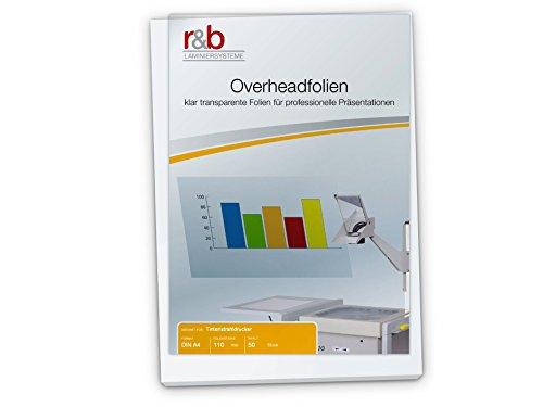 r&b OVERHEADINKA3 Kopierfolien, Overheadfolien DIN A3, 110 Mic für Tintenstrahldrucker, 50 Stück