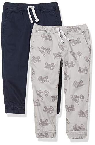 Amazon Essentials Pull-on Woven Jogger Pants, 2 Stück, grau/Marineblau, EU 116 cm