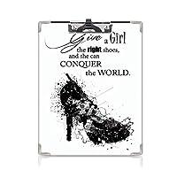 クリップボード A4 引用して かわいい画板 女の子に適切な靴を与えれば A4 タテ型 クリップファイル ワードパッド ファイルバインダー 携帯便利彼女は世界の女性のファッションアートプリントを征服することができます。ブラックホワイト