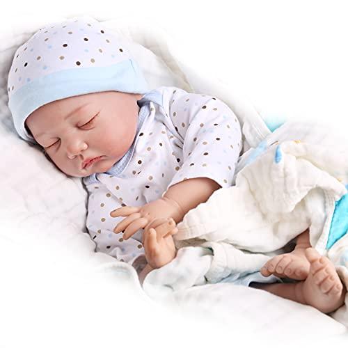 Reborn Baby Dolls 22 Inch Sleeping Baby Reborn Dolls Boy Weighted Newborn Babies Handmade Lifelike Real Baby Dolls for Age 3+