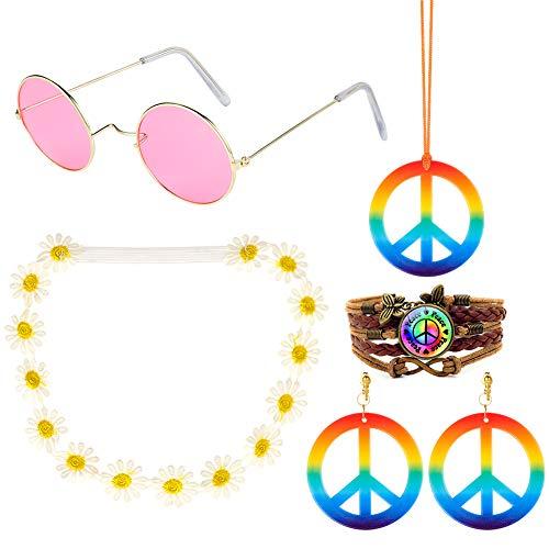 AIM Cloudbed Hippie-Kostüm-Set – 60er-Jahre-Kostüme, Sonnenbrille, Friedenszeichen, Halskette und Ohrringe, Sonnenblumenkrone Stirnband und Peace-Zeichen PU geflochtenes Armband