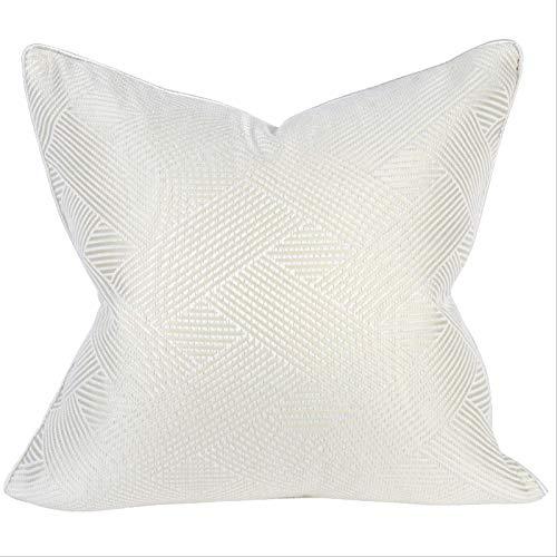 LLWYH Fundas para Cojines De Almohada Funda De Cojín Decorativa Cuadrada De Lujo con Textura Geométrica Satinada para Dormitorio Blanco Crema 45x45 cm (Sin Núcleo)