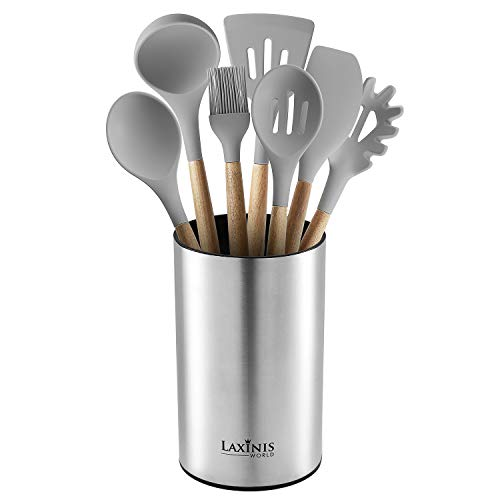 Stainless Steel Kitchen Utensil Holder Kitchen Caddy Utensil Organizer Round Shape Utensils Crock 7 by 43