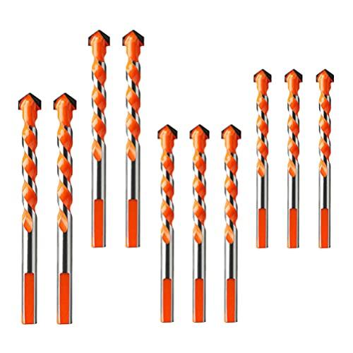 Angoily 10 Piezas de Brocas de Azulejo Mutli- Funcional Broca de Hormigón Broca de Giro Herramienta de Perforación de Cabeza para Ladrillos de Cerámica de Madera de Espejo de Vidrio