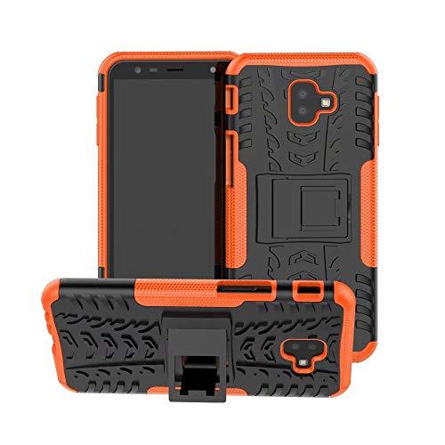 Smfu Funda Compatible Samsung Galaxy J4/J6 Prime/J6/J4 Plus Carcasa Rugged Híbrido Resistente Absorción Anti-arañazos Funda Absorción Impactos con Pie De Apoyo Caja [con Mica 2Unidades]-Naranja