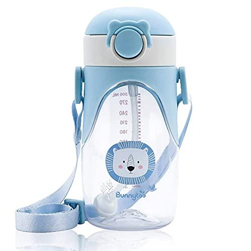 Bunnytoo Trainer Cup Trinklernbecher,400ml Trinkflasche Kinder,Baby Trinkbecher ,Auslaufsicher,Langlebig und Hygienisch, ab 12 Monaten | Für Kinder und Baby Geeignet | BPA-Frei | Blau