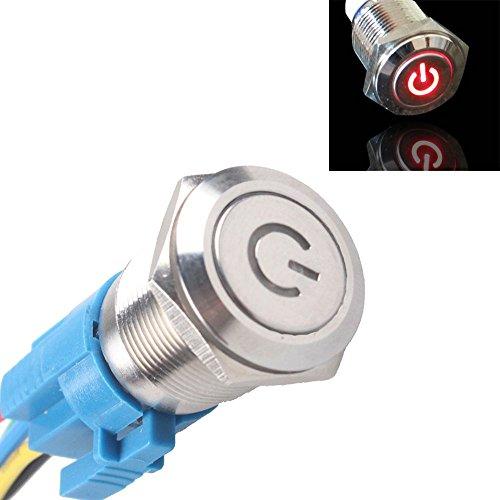 Mintice™ 16mm 12V 3A Rouge de véhicule automobile LED poussoir métallique bouton interrupteur de symbole de puissance lumineuse prise de courant