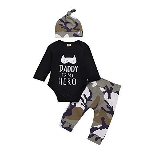 Anywow Newborn - Conjunto unisex para bebé, 3 piezas, body de manga larga con diseño de letras y pantalones de camuflaje + sombrero Daddy is My Hero Brief impreso, ropa de 0 a 18 meses Hero. 6-9 Meses
