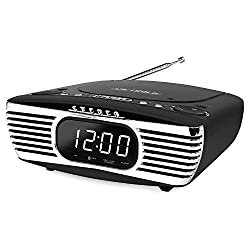 Victrola Bedside Digital LED Alarm Clock Stereo with CD Player and FM Radio, Black