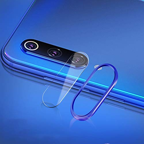 Webcam afdekking krasbestendig mobiele telefoon metalen achterste camera lens ring achterste camera lens getemperd bescherming filmset voor Xiaomi Mi 9, blauw