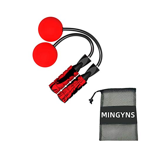 MINGYNS Weighted Jump Rope,Adjustable Ropeless Jump Rope Cordless Rope Skipping Wireless Jumping Rope for Indoor/Outdoor Fitness Boxing Training WOD MMA (Red, 270g)