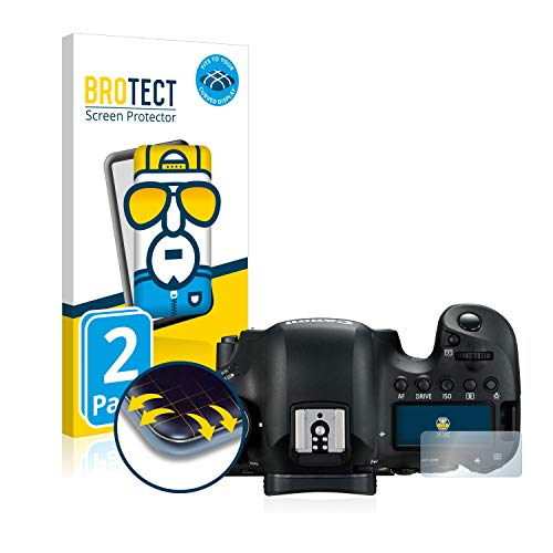 BROTECT Full-Cover Schutzfolie kompatibel mit Canon EOS 6D Mark II (Schulterdisplay) (2 Stück) - Full-Screen Displayschutz-Folie, 3D, Kristall-Klar