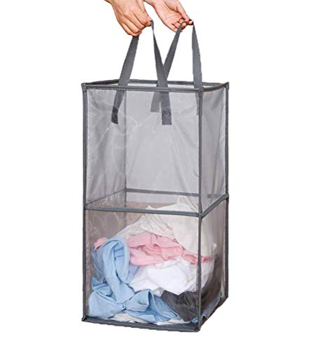 Emoly Mesh Popup Laundry Hamper with Handles Portable Durable Collapsible Dirty Clothes Mesh Basket Foldable for Washing Storage Kids RoomCollege Dorm or Travel Double -Layer Grey