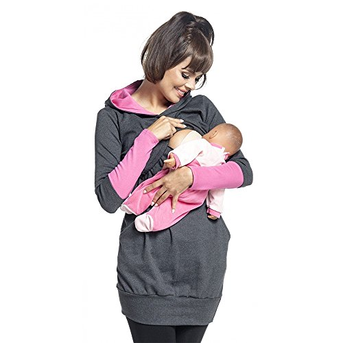 homese Womens Still-Stillen Hoodie mit langen Ärmeln Sweatshirt Top Kleidung dunkelgrau L Nursing Top
