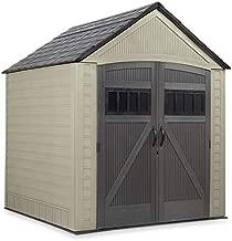 Rubbermaid Outdoor Storage Shed, 7X7 feet, Resin Weather Resistant Outdoor Garden Storage Shed for Backyard, Garden, Tool Storage, Lawn, Garage Organizer , Roughneck