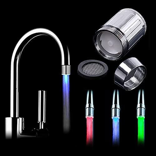 Conector Cocina y baño LED Faucet Aeroator LED Faucet Light Colorido Aireador de Ahorro de Agua para Adaptador de Grifo (Color : 3 Colors)