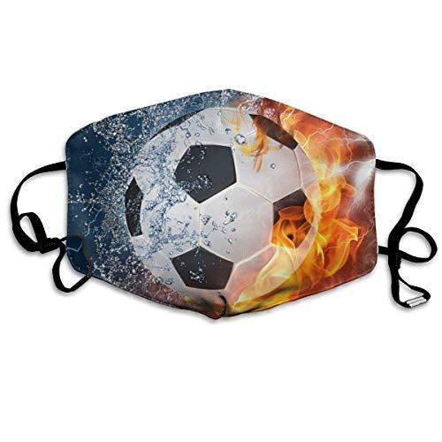 Multifunktionale Gesichtsschutzhülle,Cool Water Fire Flame Fußball Fußball Druck Gedruckt Unisex Waschbar Wiederverwendbare Gesichtsdekorationen Für Den Persönlichen Schutz