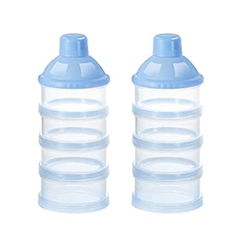 Accmor Baby Milk Powder Formula Dispenser Non-Spill Smart Stackable Baby Feeding Travel Storage Container BPA Free 4 Compartments 2 Pack