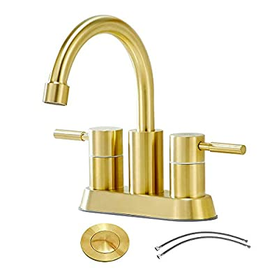 Bathroom Faucet,Bathroom Sink Faucet,Brushed Gold Stainless Steel Brass Vanity Sinks Faucets,Best Modern 2 Handles 2 Holes 4 Inch Centerset Commercial Bath Lavatory Sinks Faucets Set with Pop-Up Drain
