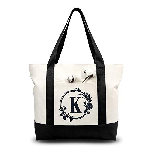 TOPDesign Embroidery Initial Canvas Tote Bag, Personalized Present Bag, Suitable for Wedding, Birthday, Beach, Holiday, is a Great Gift for Women, Mom, Teachers, Friends, Bridesmaids (Letter K)
