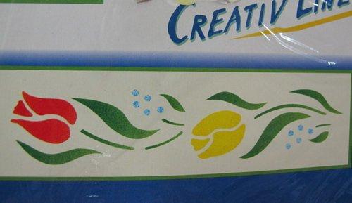 Schablone Creativ Line, Bordüren Schablone Tulpen, Zeichen und Mal-Schablone