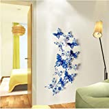 Decal Blue And White Porcelain Butterflies Wall Stickers Home Decor Wall Stickers Simulation Butterfly Wall Sticker 12Pcs/Set (12 * 10Cm+9 * 8Cm+7 * 6Cm)