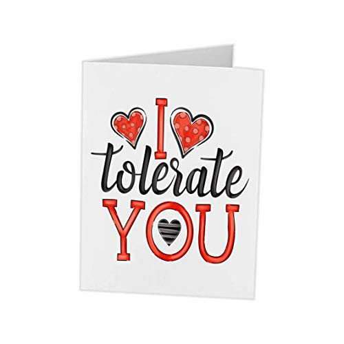 Christmas Valentines Birthday Anniversary Cards | I Tolerate You | Card For Boyfriend Girlfriend Husband Wife Best Friend | 5x7 blank card with envelope