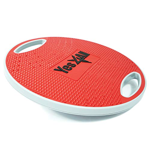 Yes4All Wobble Balance Board/Round Wobble Board – 16.34 inch Plastic Balance Board for Rehabilitation Exercise & Core Strength Training (Red/Gray)