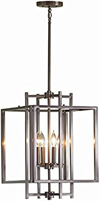 Allen Roth Brushed Nickel Industrial Cage Pendant