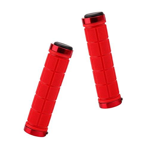 Fahrradgriffe, 2 Stück, Rutschfest, stoßfest, Aluminiumlegierung, bequem, weiches TPR Gummi, für Fahrrad Mountainbike BMX Klapprad, Herren, rot