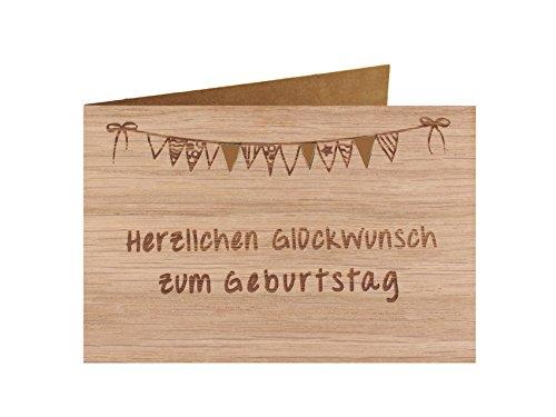 Holzgrußkarte - Geburtstagskarte - 100% handmade in Österreich - Postkarte Glückwunschkarte Geschenkkarte Grußkarte Klappkarte Karte Einladung, Motiv:HERZLICHEN GLÜCKWUNSCH ZUM GEBURTSTAG