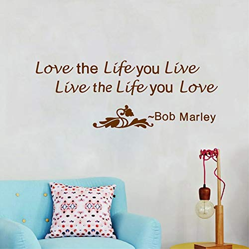 fancjj Aimez la Vie Que Vous vivez Bob Marley Citations Vinyle Autocollant Mural Grande Taille Home Stickers Muraux Salon Décoration 98X38CM