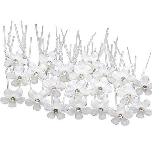 20 horquillas para el pelo con flores de cristal, estilo U, exquisitos clips de pelo florales, elegantes para bodas, compromisos, fiestas de novias, peinados