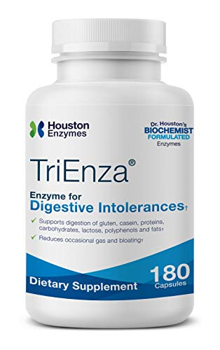 Houston Enzymes TriEnza – 180 Capsules (90 Doses)   Broad-Spectrum Enzymes for Digestive Intolerances   Supports Digestion of Gluten, Casein, Soy, Proteins, Carbohydrates, Sugars, Fats & Polyphenols