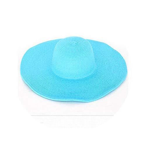 Seaside Sun Visor Hat Female Summer Sun Hats for Women Large Brimmed Straw Sun Hat Folding Beach Girls Sky Blue