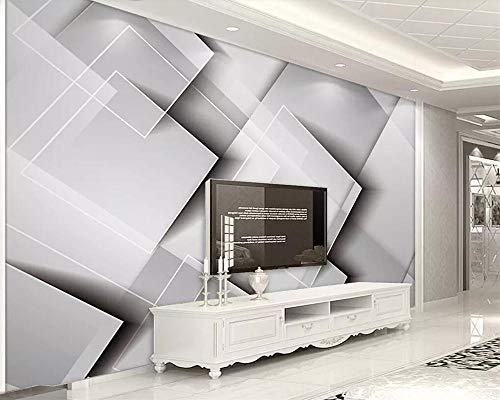Geometrische gradiënt vierkante behang driedimensionale grijze slaapkamer TV achtergrond muur woondecoratie 3d behang-400 * 280cm